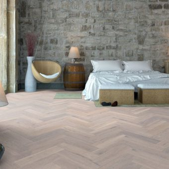 Pure white Oak Brushed and Matt Lacquered Herringbone