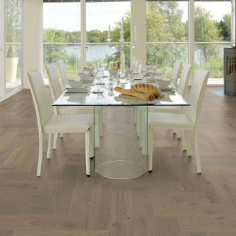 Belle platinum grey Oak Brushed Matt Lacquered Herringbone
